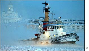 A tug breaks ice in Helsinki harbour