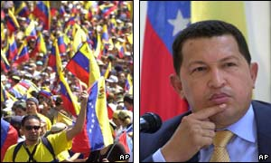 Anti-Chavez protesters (l) and President Chavez (r)