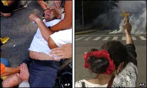 A man injured in the clashes(l) and a woman raising a cross towards the tear gas (r)