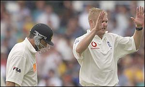 Steve Waugh fails to add to his overnight total as Matthew Hoggard celebrates dismissing him