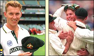 Australian fast bowler Brett Lee in action on his Test debut against India in 1999