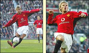 David Beckham scores from a free-kick for Man Utd