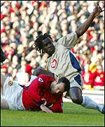 Giggs is fouled for the first penalty