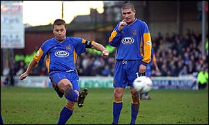 Shrewsbury's Nigel Jemson scores from a free kick on 3
