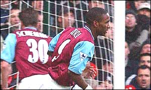 Jermain Defoe wheels away after scoring the equaliser for West Ham against Nottingham Forest