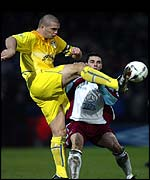 Dominc Matteo defends the ball against Scunthorpe's Steve Torpey
