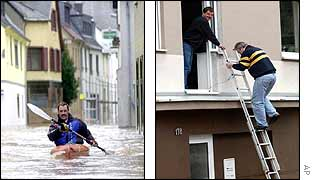 Man kayaks to safety in Koblenz (left) as a man enters his flooded home in Bonn