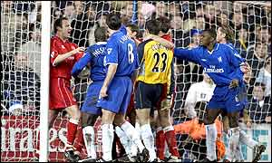 Matters reach boiling point in the goalmouth as players confront each other over Boro's disallowed goal and the clash between Cudicini and Windass