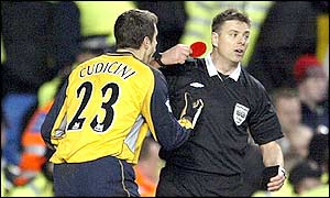 Referee Mark Halsey shows Cudicini the red card to the Italian's disbelief