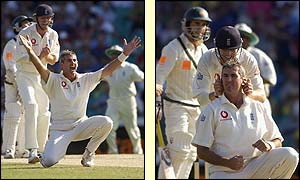 England's Andy Caddick successfully appeals for the wicket of Australia's Justin Langer
