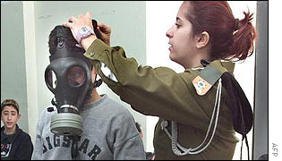 an Israeli soldier fits a gas mask to a child