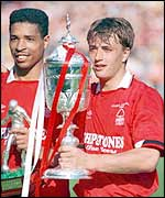 Matchwinner Nigel Jemson shows off the Littlewoods Cup after Nottingham Forest's 1990 Wembley win