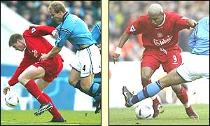 Neil Mellor and El-Hajdi Diouf of Liverpool try and break forward