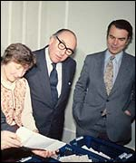 Roy Jenkins (centre) with Shirley Williams and David Owen