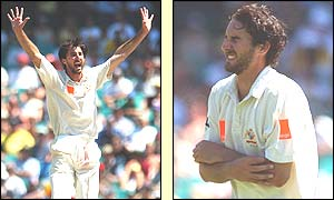 Jason Gillespie celebrates taking the wicket of John Crawley but is later forced to leave the field after injuring his elbow