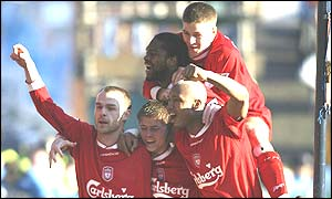 Danny Murphy celebrates scoring for Liverpool