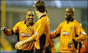 Paul Ince is congratulated on putting Wolves into the lead