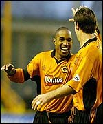 Wolves captain Paul Ince celebrates with Paul Butler