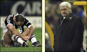 Alan Shearer sits alone on the pitch and manager Bobby Robson grimaces following Newcastle's defeat