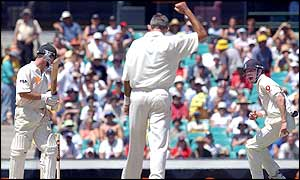 Soon after the dismissal of Andy Bichel Australia suffer the loss of skipper Steve Waugh after he is bowled by Andrew Caddick