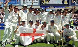 The England team celebrate after clinching a 225-run win over Australia in the final Test to avoid a series whitewash