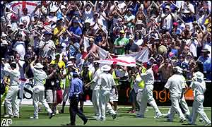 The Barmy Army celebrate England's rare win on Australian soil at the Sydney Cricket Ground