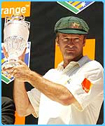 Aussie captain Steve Waugh with the Ashes trophy