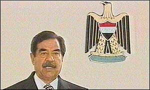 Saddam Hussein makes a televised speech