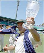 Steve Waugh holds the replica Ashes aloft