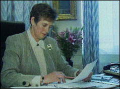 Photograph of MI5 chief Stella Rimington at work