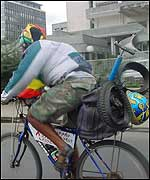Hirut Gedlu on her bicycle in Addis Ababa