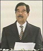 Saddam Hussein making his Army Day address