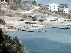 Photograph of a Turkish landing craft delivering supplies to Kyrenia