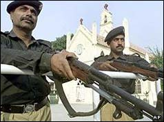 Pakistani police guard a Catholic church in Rawalpindi