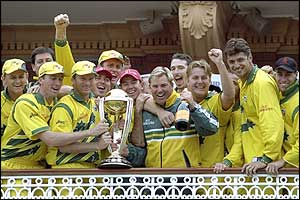 Australia's players celebrate on the Lord's balcony