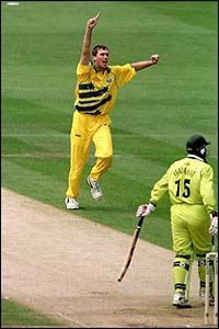 Australia's Glenn McGrath captures the wickets of Pakistan's Wajahatullah Wasti