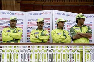Pakistan's players are forced to look on as Australia celebrate