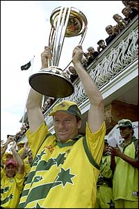 Australia's captain Steve Waugh holds the World Cup aloft