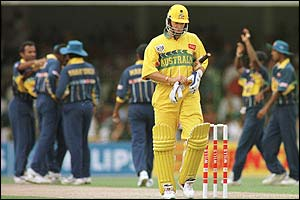 Australia's Mark Waugh is out for 12