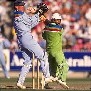 Pakistan's Javed Miandad crashes the ball towards the boundary