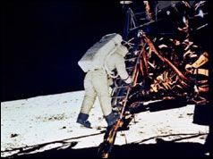Photograph Of Edwin Aldrin stepping onto the moon from the Eagle landing craft