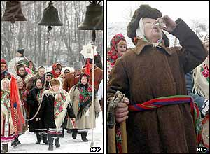 Left picture: Orthodox faithful near the church in Pirogovo, near capital Kiev. Right picture: A woman drinks homemade vodka .