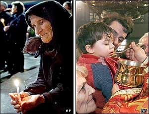 Left picture: An elderly woman prays in St. Clement church in the Macedonian capital, Skopje, and (right picture) a boy takes a communion from a priest after the liturgy