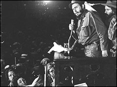 Fidel Castro addresses the crowd after his inauguaration