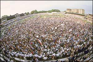 A huge crowd gathers on the Lord's pitch to watch the presentations