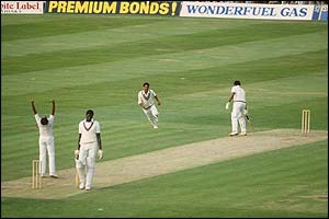 West Indies' Andy Roberts is bowled for four