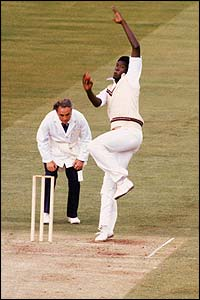 West Indies bowler Joel Garner thunders in to bowl