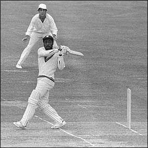 Viv Richards clubs the ball towards the boundary