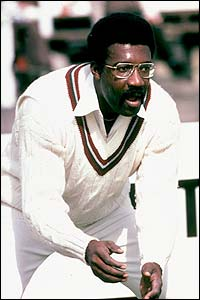 West Indies captain Clive Lloyd stands poised in the slips