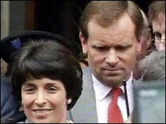 Photograph of Jeffrey and Mary Archer leaving the High Court